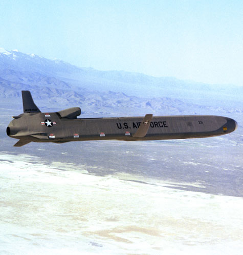An AGM-86 air-launched cruise missile in flight
