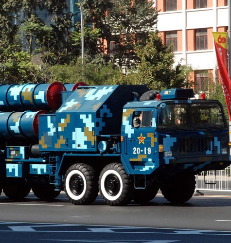 HQ-9 surface-to-air missile system. Variations of  this system are being developed to counter ballistic missiles