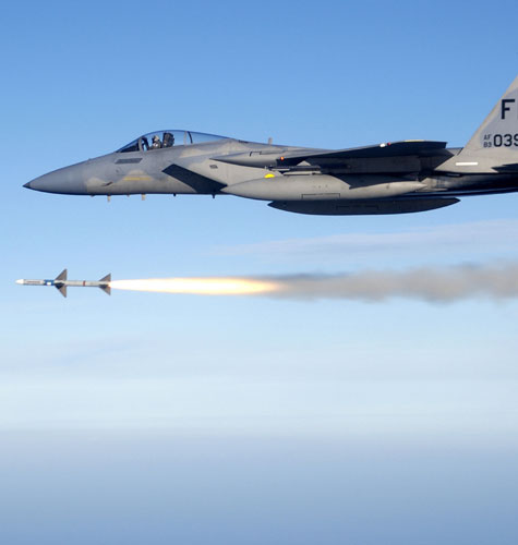 U.S. F-15 Eagle firing an air-to-air missile
