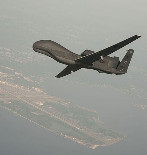 a RQ-4 Global Hawk unmanned aerial vehicle conducts tests over Naval Air Station Patuxent River, Md.