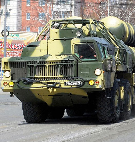 S-300 surface-to-air missile system during a May 2009 parade in Moscow. Variations of this system have been developed to intercept ballistic missiles