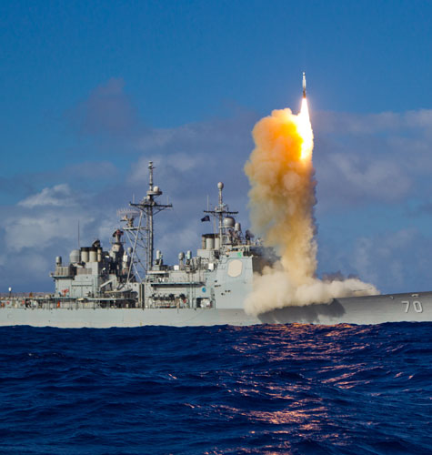 USS Lake Erie equipped with Aegis missile defense system launches an interceptor during a May 2013 test