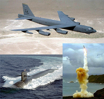 The Nuclear Triad B52 bomber minuteman III ICBM on land and Trident II SLBMs on a submarine