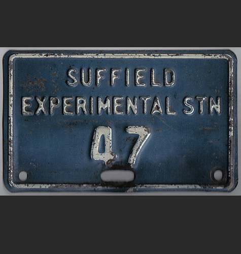 A license plate from the Suffield Research Facility